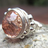 Sterling Silver Pink Faceted Wire Wrapped Ring