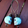Chalk Turquoise Skull Antiqued Brass Wire Wrapped Earrings