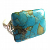 Wire Wrapped Ring Turquoise Mosaic Stone Unisex Jewellery