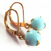 Vintage Style Earrings Pale Blue Glass Claw Setting Jewellery