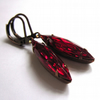 Ruby Red Glass Earrings Vintage Style Claw Set Retro Jewellery