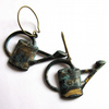 Verdigris Patina Watering Can Earrings Fashion Jewellery