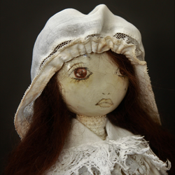 Bespoke, Handmade, Clay Art Doll with Vintage Fabrics. ' Tess Durbeyfield'.