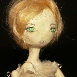 Bespoke, Handmade, Clay Art Doll with Vintage Fabric 'Delphi'