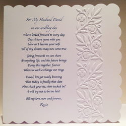 Personalised Husband To Be Groom Wedding Day Poem From Wife Bride