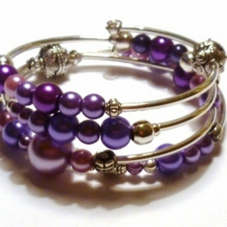 Purple and Pink Beaded Wrap Bracelet