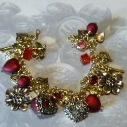Red and Gold Hearts and Flowers Charm Bracelet