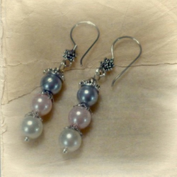 Sterling Silver Pearl Dangle Earrings - Dove Grey and Dusky Pink