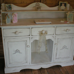 Shabby Chic Chalk Aged White Sideboard Buffet Dresser Writing Desk Work Area