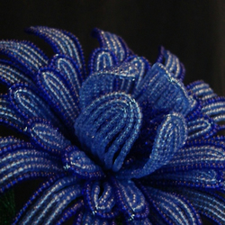 Stunning Blue French Beaded Fantasy Flower