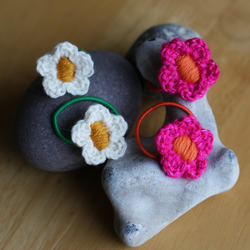 two pairs of cheery flower hair bobbles (pink and white)