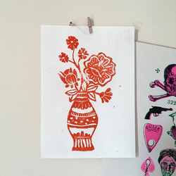 Handmade lino print of flowers, Botanical illustration, Linocut art