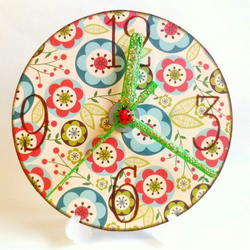 Ladybird and flowers clock