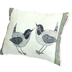 Cushion Cover - Birds - Greys - White