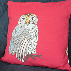 Cushion Cover-Bright Red-Owl