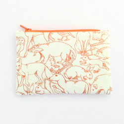 Woodland animals zipped pouch purse