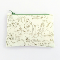 Woodland creatures zipped pouch purse