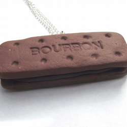 Chocolate Bourbon Biscuit - Necklace Novelty Necklace - Cute biscuit Necklace