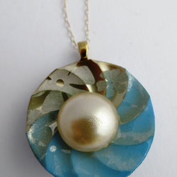 Liberty Button and Vintage Glass Pearl Pendant