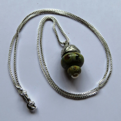 Silver, Pewter, Glass & Pearl Acorn Neclace