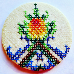Vintage Cross Stitch Pocket Mirror