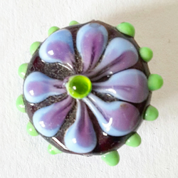 Glass lampworked Flower Focal Bead