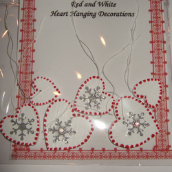 Red & White Snowflake Heart Decorations