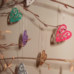 Sparkly Wooden Heart Decorations
