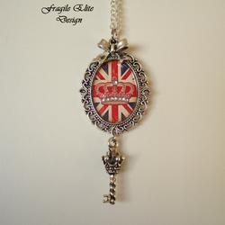 Cool Brittania Union Jack Pendant Necklace-Altered Art