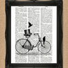 BIKE AND TOP HAT DICTIONARY PRINT bicycle illustration A051D
