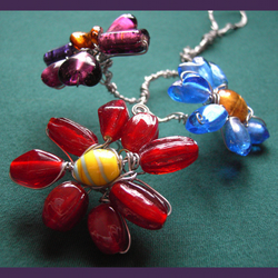 Bouquet Suncatcher - an ornament with flowers, in wire and beads