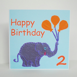 Second Birthday Card - Elephant Design in Blue and Orange