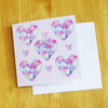 Patchwork Hearts Valentines Card  with Bow