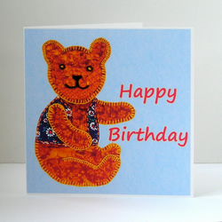 Teddy Bear Birthday Card, Recycled Eco Friendly Birthday Card