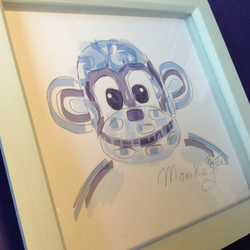 New Monkey doodle print by jas  framed  blue Sunnyteddydesigns