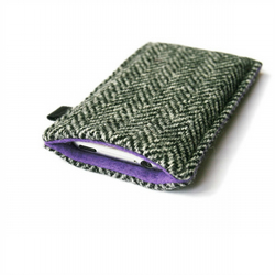 slim iPhone case in black and white herringbone Harris Tweed with purple