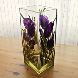 Glass Vase, Candle Holder with Purple Tulips - Hand Painted