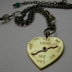 Yes Or No Love Spinner Heart Pendant Necklace