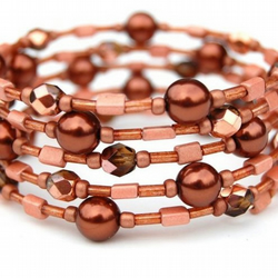 Copper and Rust Memory Wire Bracelet