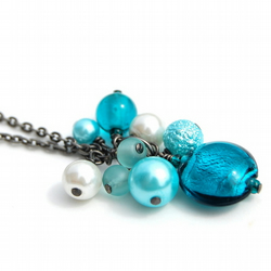 Teal and Turquoise Cluster Necklace
