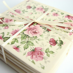 Set of 4 Pink Rose Patterned Coasters