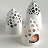 White ceramic night lite/ candle holder - handmade.