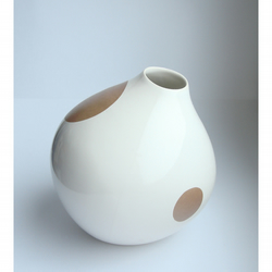 White vase with gold spots