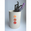 Pen Pot with sewn on red and orange vintage buttons