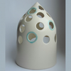 White ceramic nite/night lite/ candle holder with green detail - handmade.