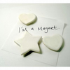 Set of 3 white heart and star magnets