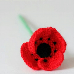 Charity Knitted Poppy Brooch - 'Tiny Stitches Poppy Appeal 2012'