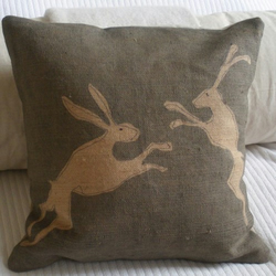 hand printed rustic hessian hare cushion