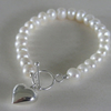 Sterling silver 925 heart and freshwater pearl bracelet