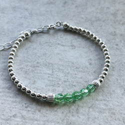 Birthstone Bracelet - Peridot and Sterling Silver - August